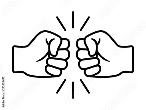 Bro fist bump or power five pound line art vector icon for apps and websites Fototapet