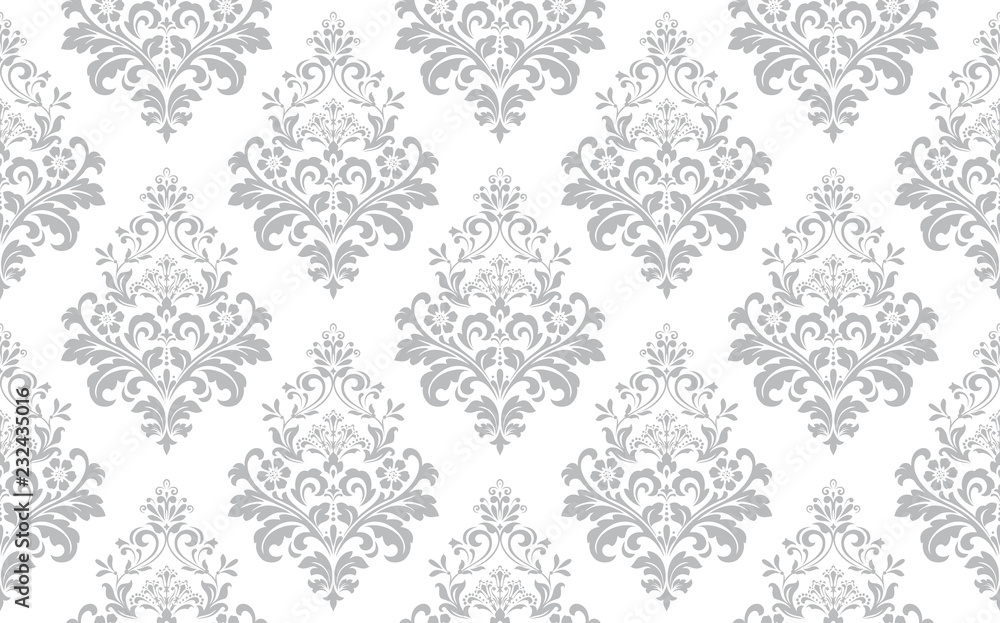 Fototapeta Floral pattern. Vintage wallpaper in the Baroque style. Seamless vector background. White and grey ornament for fabric, wallpaper, packaging. Ornate Damask flower ornament.