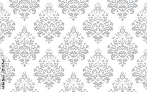 Fototapeta Floral pattern. Vintage wallpaper in the Baroque style. Seamless vector background. White and grey ornament for fabric, wallpaper, packaging. Ornate Damask flower ornament. obraz