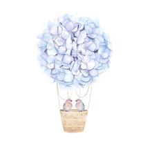 Nebulas Blue Aerostat Balloon Flowers. Watercolor Hydrangea And Couple Birds. Floral Print For Wedding Card. Hand Drawn  Illustration