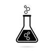 Leinwanddruck Bild - Black Beaker For Experiment icon or logo