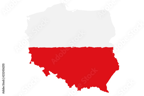 Fotomural  Map of Poland with Flag