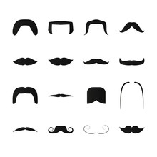 Mustache Simple Black Icons. R...