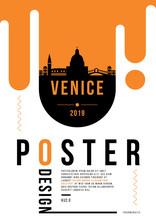 Venice Modern Poster Design With Vector Linear Skyline