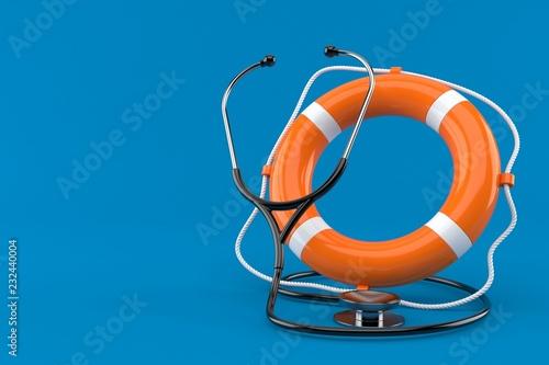 Fotografie, Obraz  Stethoscope with life buoy