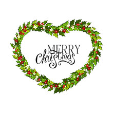 Christmas Decorations Withholly Leaves, Red And White Poinsettia Flowers And Snow. Heart Shape Frame,