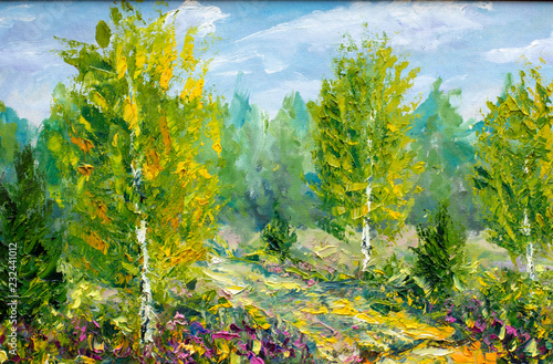 Foto auf AluDibond Pistazie oil painting on canvas-Beautiful summer spring landscape, green trees and bright nature-modern impressionism fine art