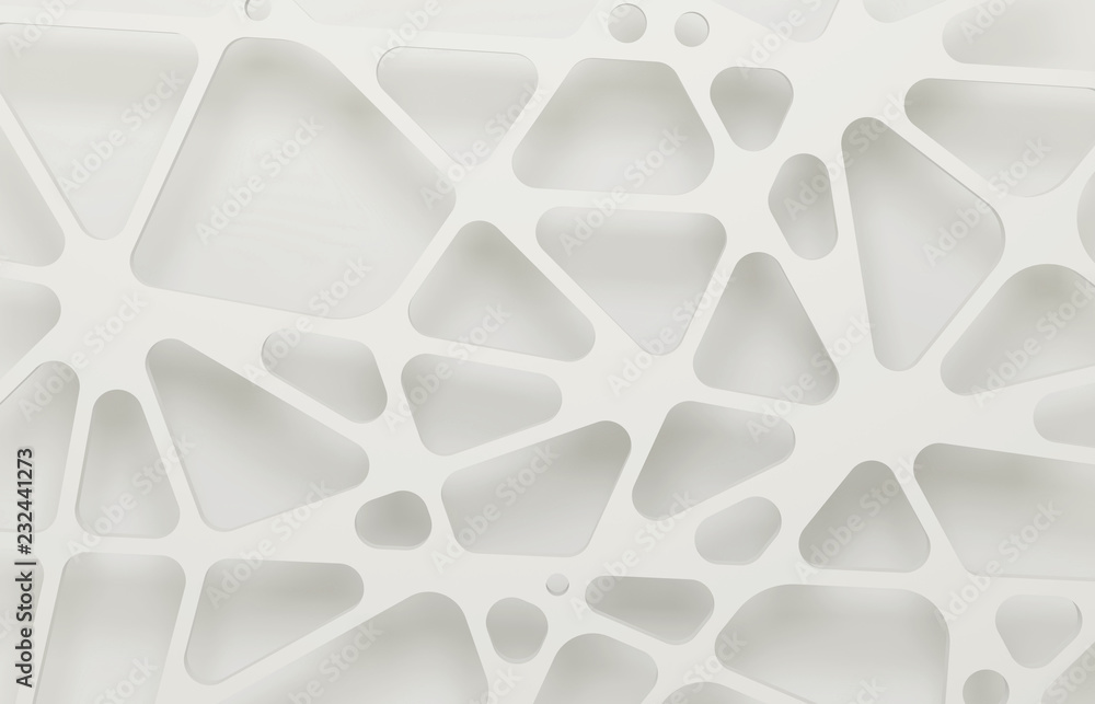 Fototapety, obrazy: Abstract white 3d background, organic mesh.