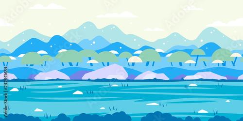 Fotobehang Wit Nature Game Background Flat Landscape