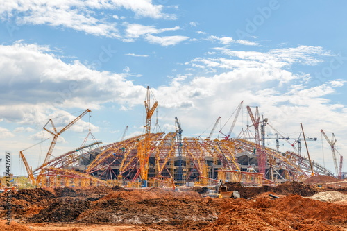 Foto op Plexiglas Stadion SAMARA, RUSSIA - May 2017: Construction of a modern stadium for the soccer world cup Cosmos Arena.