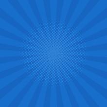 Bright Blue Rays Background. Comics, Pop Art Style. Vector Illustration