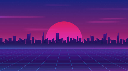 Retro future 80s style sci-fi wallpaper. Futuristic night city. Cityscape on ...