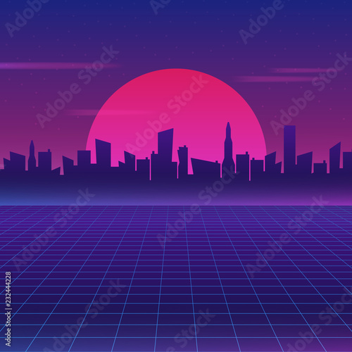 Retro future 80s style sci-fi wallpaper. Futuristic night city. Cityscape on a dark background with bright and glowing neon purple and blue lights.