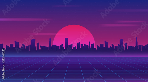 Fotobehang Violet Retro future 80s style sci-fi wallpaper. Futuristic night city. Cityscape on a dark background with bright and glowing neon purple and blue lights. Cyberpunk and retro wave style vector illustration