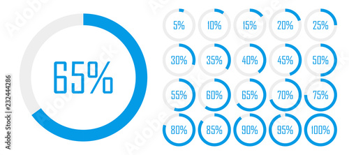 Fényképezés  Set of circle percentage diagrams from 0 to 100 for web design, user UI interface or infographic - indicator with blue color