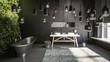 Grey concrete bathroom interior