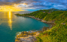 Panorama Sunset Above Promthep Cape Is A Mountain Of Rock That Extends Into The Sea In Phuket Thailand..Promthep Cape Is The Most Popular Viewpoint In Phuket.