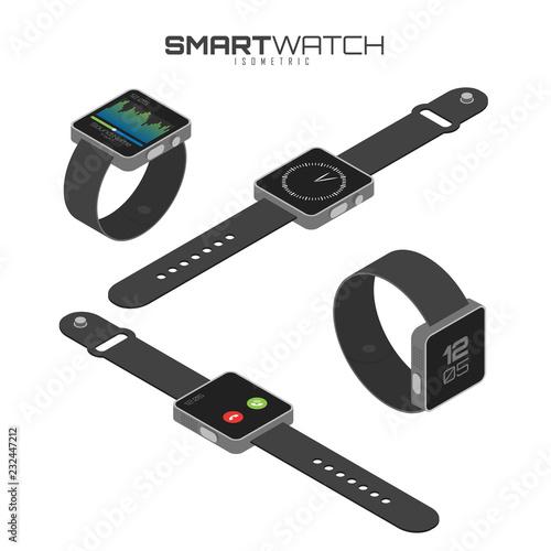Valokuvatapetti Isometric set of different types of smart watches