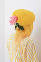 Yellow Hair, Yellow Beret, Pink Rose Girl