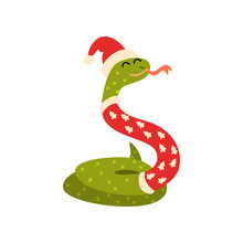 Snake Symbol Of New Year, Cute Animal Of Chinese Horoscope In Santa Claus Costume Vector Illustration On A White Background