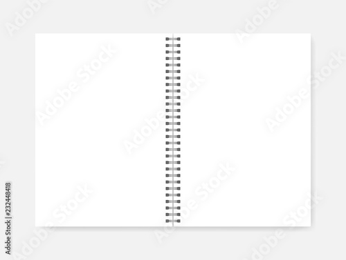 Cuadros en Lienzo Open wire spiral empty white A4 notebook, realistic vector mockup