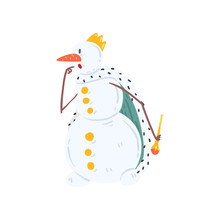 Funny King Snowman Character I...