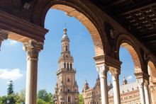 Tower At Plaza De Espana In Park Of Maria Luisa In Seville Spain.