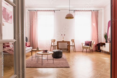Fotografía  Pale pink living room interior in tenement house, real photo with copy space on