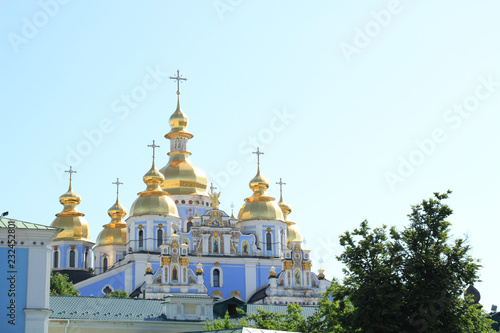 Old buildings of the city. Architecture of Kiev. Ukraine. Churches and ancient Austrian architecture. Traveling