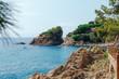 Beautiful Mediterranean sea coast with turquoise water near Blanes, Costa Brava, Catalonia, Spain. Summer landscape