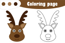 Deer In Cartoon Style, Christmas Coloring Page, Education Paper Game For The Development Of Children, Kids Preschool Activity, Printable Worksheet, Vector Illustration