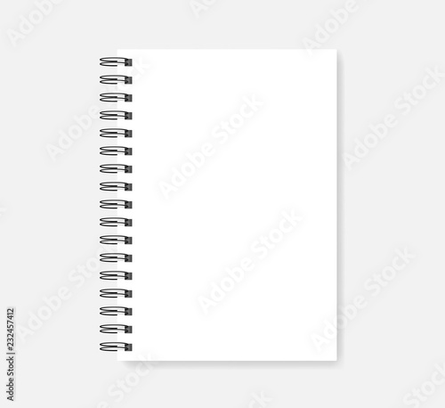 Photo Wire spiral empty notebook - white A5 diary realistic vector mockup