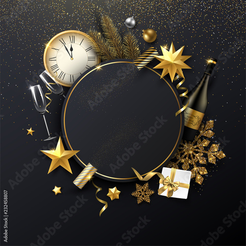 Fotografía  Christmas and New Year round poster with Christmas decorations, gift, Champagne and clock
