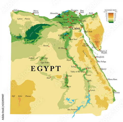 Photo  Egypt physical map