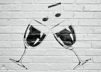 Street art. Verres de vin