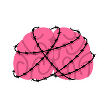 Brain And Barbed Wire. Sick Brains Internal Organs Human Anatomy. Metaphor Of Problems And Reduced Health. Pain Medical Health Care Concept