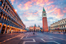 Fantastic Sanset On San Marco Square With Campanile And Saint Mark's Basilica. Colorful Evening Cityscape Of Venice, Italy, Europe. Traveling Concept Background. Artistic Style Post Processed Photo.