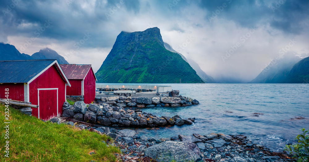 Fototapety, obrazy: Colorful night scene of Hjorundfjorden fjord, Orsta municipality, More og Romsdal county. Dramatic evening view of Norway. Traveling concept background.