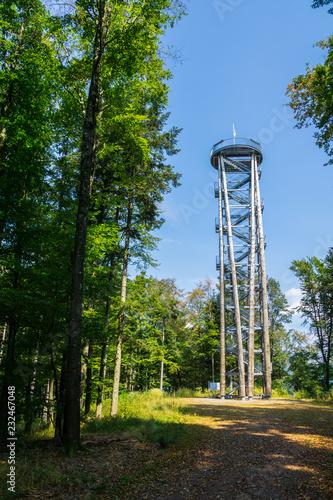 Fotografia, Obraz  Germany, Tall tower building Urenkopfturm of Haslach in Kinzig valley in black f