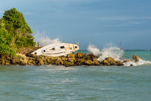 Sailboat Is Beached And Damaged By Hurricane - The Gosier In Guadeloupe