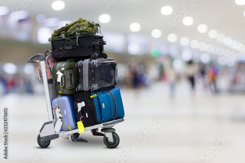 Airport luggage Trolley with suitcases Fototapet