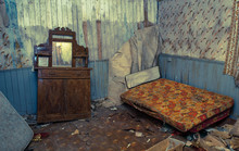 Creepy Derelict Bedroom In An Old Abandoned House, Vintage Coulor Cross Processed Style,