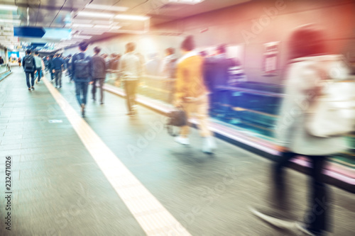 Poster Airport Anonymous blurred people rushing in subway train,Seoul in South Korea..