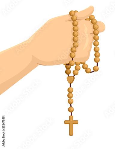 Fotografia Hand Rosary Illustration