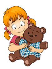 Kid Girl Dress Toy Bear Illustration