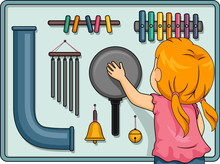 Kid Girl Sensory Board Illustration