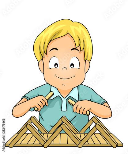 Kid Boy Build Bridge Popsicle Sticks Illustration - Buy this stock
