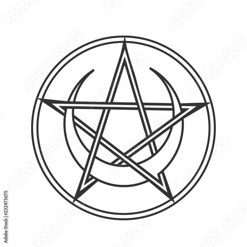 Foto Vector for Wiccan and Occult Esoteric Community: Pentacle or pentagram of Wicca with crescent moon isolated