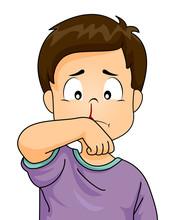 Kid Boy Nosebleed Illustration