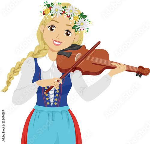 Papel de parede Teen Girl Sweden Midsummer Festival Fiddle Music